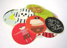 Ahoy, Matey! Get a set of 36 cute Pirate Stickers! Pirate themed party is so much fun! There are so many different images included such as a pirate boy, pirate girl, skeleton, parrot, pirate ship, treasure island, treasure chest box, map, compass, message in the bottle and phrases. You will receive stickers that are randomly chosen. Use these to adore favor bags or as envelope seals, perfect for baby shower and birthday.