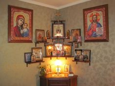 Orthodox home altar Home Altar Catholic, Church Icon, Prayer Corner, Russian Orthodox, Home Icon, Orthodox Christianity, Prayer Room, Prayer Wall, Orthodox Icons