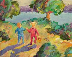 kids, children at lake, painting by Peggy Johnson prints at http://fineartamerica.com/featured/early-morning-peggy-johnson.html