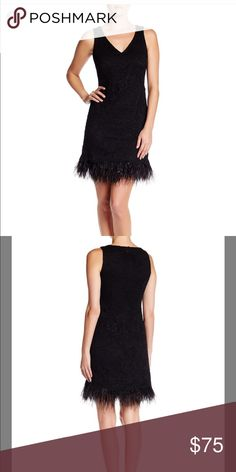 🍾 NYE • Nicole Miller Lace Feather Cocktail Dress NWT - Beautiful Fitted V-Shape silhouette black lace feather hem cocktail dress. Little black dress with an edgy twist perfect for the holidays, New Years Eve, special occasions, Gatsby / flapper parties and so forth! Nicole Miller Dresses