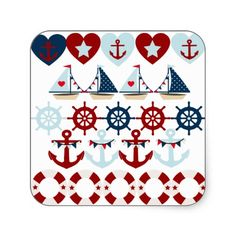 Summer Nautical Theme Anchors Sail Boats Helms Square Sticker