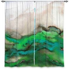 WINTER WAVES GREEN Aqua Lime Taupe Art Window Curtains by EbiEmporium, Colorful Fine Art Ombre Abstract Lime Turquoise Taupe Beige Modern Home Decor Lined and Unlined Curtains #curtains #ebiemporium #windowcurtains #decor #green