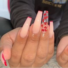 On average, the finger nails grow from 3 to millimeters per month. If it is difficult to change their growth rate, however, it is possible to cheat on their appearance and length through false nails. Red Acrylic Nails, Summer Acrylic Nails, Summer Nails, Square Acrylic Nails, Coffin Acrylics, Aycrlic Nails, Swag Nails, Red Tip Nails, Cute Red Nails