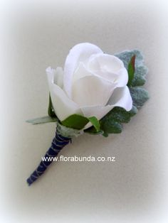 Navy and white rose buttonhole Buttonholes, White Roses, Artificial Flowers, Silk Flowers, Shades Of Blue, Navy And White, Wedding Flowers, Fake Flowers, Faux Flowers