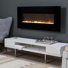 Trent 50 in. Wall Mount Fireplace - Warm up any modern decor with the stylish look of the Estate Design Trent Wall Fireplace. This sleek wall unit offers a flat panel design that is righ. Concrete Fireplace, Marble Fireplaces, Fireplace Wall, Craftsman Fireplace, Fireplace Seating, Fireplace Bookshelves, Fake Fireplace, Fireplace Cover, Fireplace Outdoor