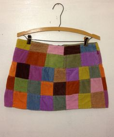 90s Patchwork Corduroy Mini Skirt by thatVideoVAMPvintage on Etsy, $22.00