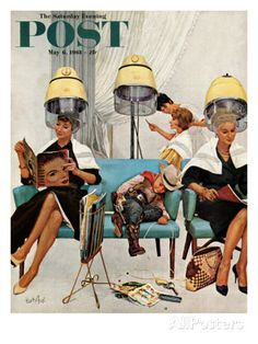 """Cowboy Asleep in Beauty Salon,"" Saturday Evening Post Cover, May 1961 - Norman Rockwell Images Vintage, Vintage Ads, Vintage Posters, Art Posters, Vintage Prints, Pin Up, Journal Vintage, Vintage Hair Salons, Vintage Salon Decor"