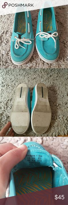 Women's Sperry Top-Sider Teal Sparkle Classic Sperry boat shoe in teal sparkle. Previously worn, but very good condition. Sperry Top-Sider Shoes Flats & Loafers