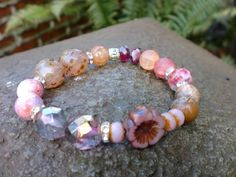 Reserved for Vicki...Pink Pansy Mix Bracelet by HarborGirlDesigns