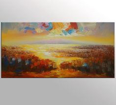 Original Art Abstract Landscape Painting Abstract by Topart007