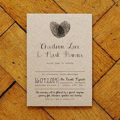 fingerprint and calligraphy wedding invitation suite by feel good wedding invitations | notonthehighstreet.com