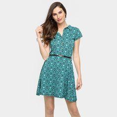 Vestido La Gata Evasê Estampado Cinto - Verde água