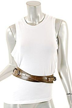 "Oscar de la Renta OSCAR de la RENTA Brownish Olive 100% Leather ""Wrap"" Belt w/2 Buckles - Sz M"