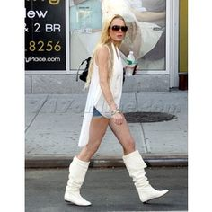 X17 Galleries - Lindsay Lohan whit white boots - Polyvore