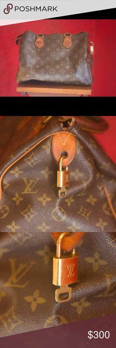 Louis Vuitton Speedy 25 Well loved, authentic Louis Vuitton Speedy 25 bag. Brown canvas interior, lock with key, all hardware on the bag says Louis Vuitton. Bag has some faded ink stains inside, and there is a SMALL tear which is pictured. Louis Vuitton Bags Totes
