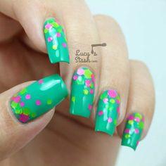 Neon Glitter Gradient on Teal Polish #nails #polish #green #colors - bellashoot.com