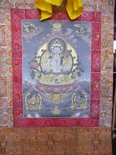 Traditional, Nepalese Thangka painting depicting Lokeswara Buddha. This precious painting was made using oil and gold gouche on canvas.