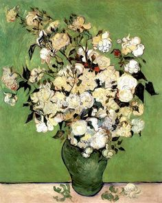 A Vase of Roses, 1890 by Vincent van Gogh. Post-Impressionism. flower painting. Annenberg Private Collection, Palm Springs