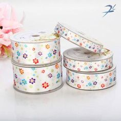 Rural Style Flower Satin Ribbon Spool for Packing