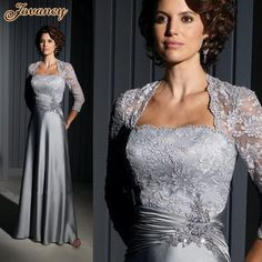 dress patterns prom dresses on sale at reasonable prices, buy Hot sell silver satin and lace A-line full length mother of the bride dress /mother dress with lace jacket from mobile site on Aliexpress Now! Mother Of Groom Dresses, Bride Groom Dress, Bride Gowns, Mothers Dresses, Mother Of The Bride, Formal Evening Dresses, Evening Gowns, Evening Party, Mob Dresses
