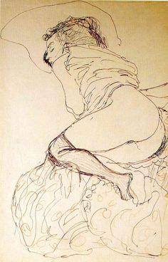 Gustav Klimt Female Nude, Turned to the Left oil painting for sale; Select your favorite Gustav Klimt Female Nude, Turned to the Left painting on canvas or frame at discount price. Gustav Klimt, Art Klimt, Life Drawing, Figure Drawing, Painting & Drawing, Alphonse Mucha, Art And Illustration, Franz Josef I, Foto Blog