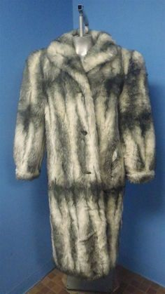 Luxurious EDITIONS - WHITE & GREY FOX FAUX FUR Coat Jacket SZ 14 - THICK & WARM! #Handmade #BasicCoat
