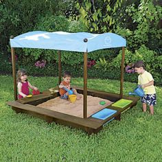 Sun Smarties Wood Sandbox with Canopy from One Step Ahead