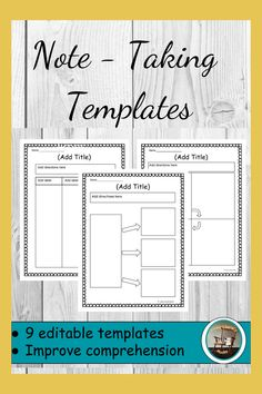 These editable templates are great for students to take notes. Students can organize their thoughts during and after reading.