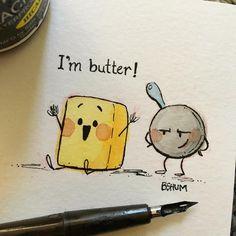 #inktober Day 16: Fat. #inktober2017 #butter #pan #fryingpan  .  .  .  .  .  #illustration #tasty #food #ink #inking #culinary #illustrator #kidlitart #drawing #sketch #cute #fun #happy