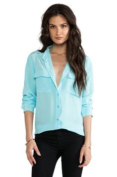 c234bcfdbd075a Shop for Equipment Signature Blouse in Light Teal at REVOLVE.