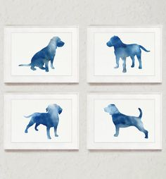 Beagle Set of 4 Dog Abstract Art Print Navy Home by Silhouetown