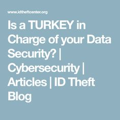 Is a TURKEY in Charge of your Data Security? | Cybersecurity | Articles | ID Theft Blog
