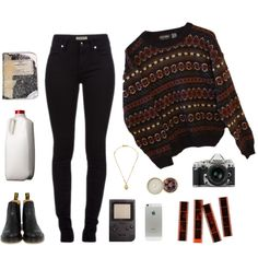 Molly Maxwell by silvanafelicia on Polyvore featuring INDIE HAIR, Dr. Martens, The Body Shop, Burberry, Nikon and Plane