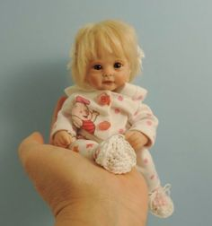 """TIMMIE"" mini 7"" polymer clay art baby doll sculpt OOAK by URSULA"