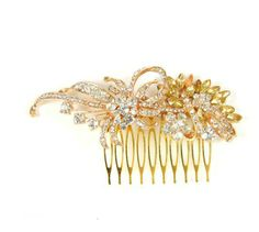 Gold wedding hair comb for the bride and her maids #gold #goldwedding #bride #bridalhair #bridesmaids
