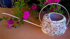 Mosaic Vintage Delicate Pink Shabby Watering Can with Vintage China