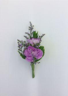 Lavender mini carnation boutonniere by Nancy at Belton hyvee.