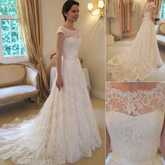 Wholesale 2014 Vintage Lace A Line Wedding Dresses Bateau Short Sleeve Bridal Dresses Chapel Wedding High Quality Court Train Custom Made White Zipper
