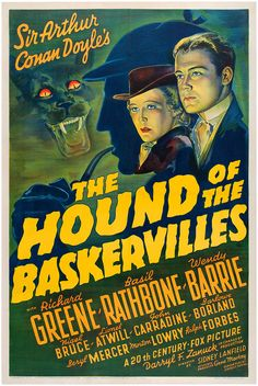 """Basil Rathbone in """"The Hound of the Baskervilles"""" (1939) - the first of his 14 Sherlock Holmes movies."""