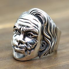 Men's Sterling Silver Clown Face Ring - Jewelry1000.com