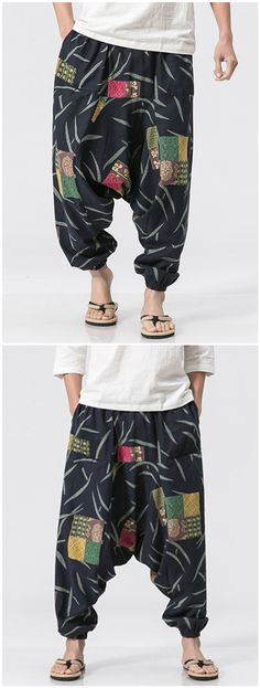 Cotton Linen Printed Jogger Pants#gamiss #men #summer #pants Harem Pants, Trousers, Men's Pants, Urban Fashion, Boho Fashion, Mens Jogger Pants, Casual Jeans, Cotton Linen, Summer Pants