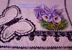 Eliana Pintura e Crochê: Panos de prato pintado com borboletas de crochê
