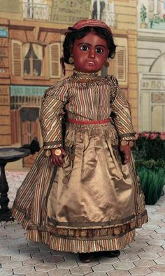 UNIQUE FRENCH ANTIQUE BISQUE BEBE JUMEAU BROWN COMPLEXION ORIGINAL SILK COSTUMED