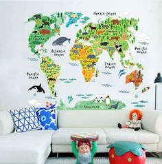 World Map with Cute Animals Wall Sticker