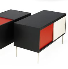 Poul Nørreklint; Enameled Steel and Lacquered Wood Cabinets (Front and Top Sliding Doors) by Georg Pedersen's Møbelfabrik for Select Form, 1967.