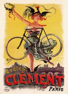 Cycles Clement poster by Pal - Beautiful Vintage Posters Reproductions. French transportation poster features a woman with winged shoes and a chicken hat holding a bicycle and leaf crown. Giclee Advertising Print. Classic Posters