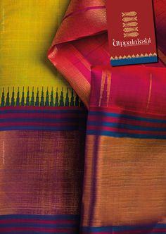 How luscious is this magnificence in apple green and magenta? Royal blue and bronze border gives the saree its aristocratic allure.#Utppalakshi #Sareeoftheday#Silksaree#Kancheevaramsilksaree#Kanchipuramsilks #Ethinc#Indian #traditional #dress#wedding #silk #saree#craftsmanship #weaving#Chennai #boutique #vibrant#exquisit #pure #weddingsaree#sareedesign #colorful #elite