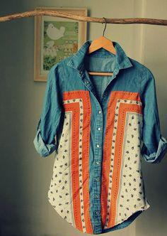 Boho Mixology: Add scarf to shirt...how beautiful!