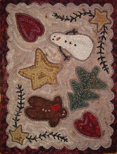 """""""Kindred Christmas"""" from Ali Strebel Designs. Looks like a cookie sheet. Rug Hooking Designs, Rug Hooking Patterns, Mosaic Patterns, Christmas Rugs, Christmas Gingerbread, Christmas Ideas, Primitive Pillows, Pom Pom Rug, Punch Needle Patterns"""