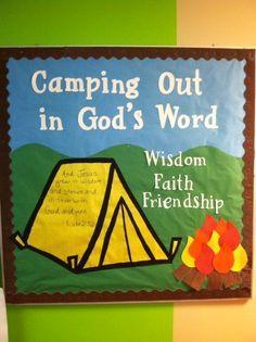 Camping bulletin board for Children's Ministry www.vanessamyers.org #kidmin